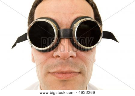 Man With Large Dark Protective Goggles