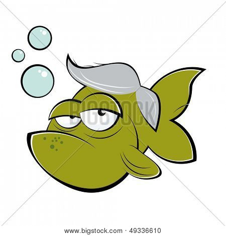 funny senior cartoon goldfish