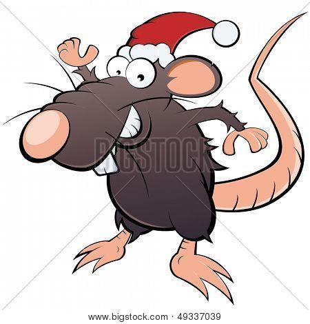 funny christmas cartoon rat