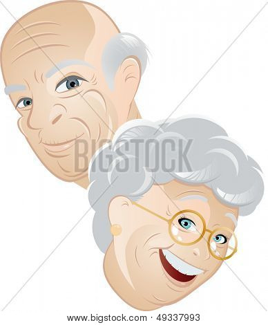 senior couple cartoon