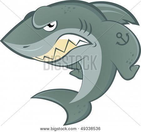 angry cartoon shark