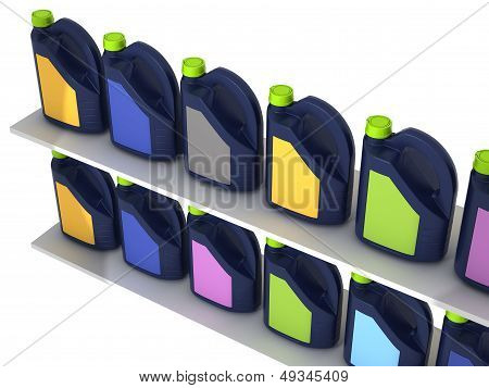Jerrycans with car engine oil - isolated