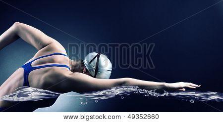 Swimmer swims.