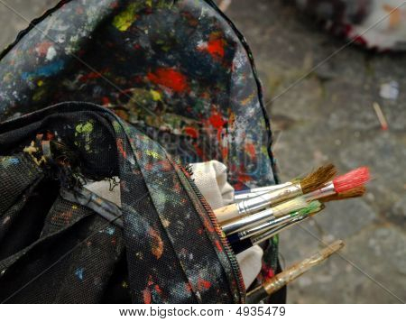 Art Brushes In Old Bag