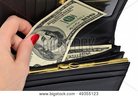 Banknote One Hundred Dollars In A Black Purse