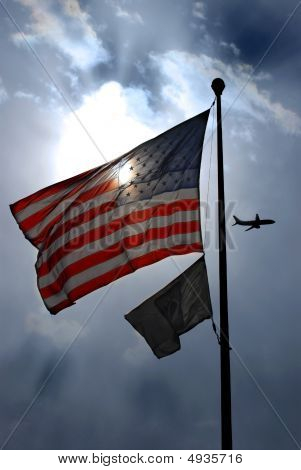 American Flag And Pow-mia
