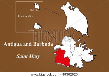 Antigua And Barbuda - Saint Mary Highlighted
