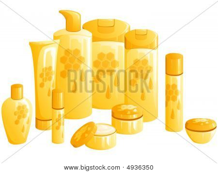 Line Of Beauty Products, With A Golden Honeycomb Design