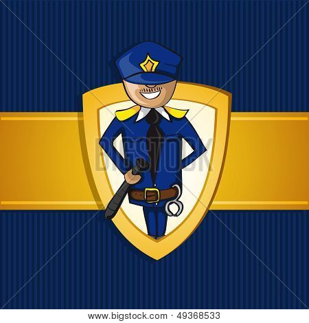 Service Police Officer Man Cartoon Shield Symbol.