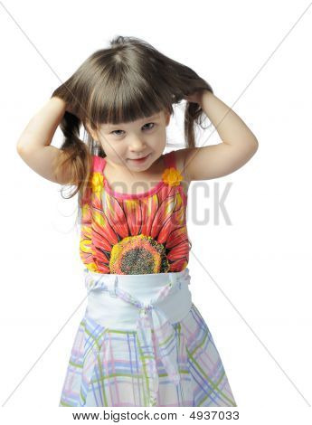 Little Girl Isolated With Long Hair