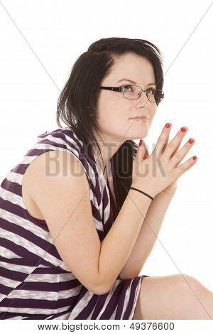 Woman Striped Purple Dress Hands Together