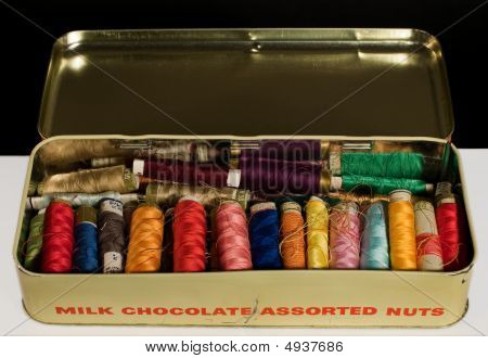 Colorful Spools Of Thread In Old Metal Box