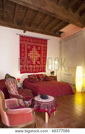 Bedroom In Red Colors