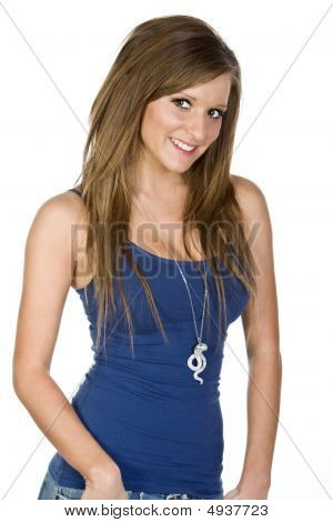 Shot Of A Pretty Teen Girl In Blue Vest
