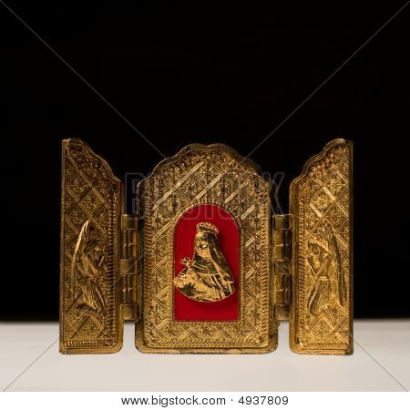 Golden Triptych With Virgin Flanked By Archangels