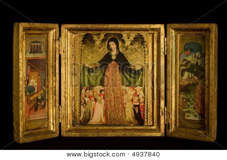 Triptych With Virgin And Child Flanked By Archangels, Scenes From The Life Of Christ, On Black Backg