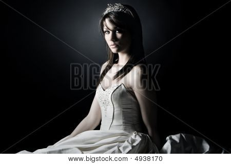 Shot Of A Young Bride Against Grey Background