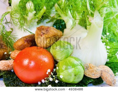 Fresh Fruits And Vegetables Close Up