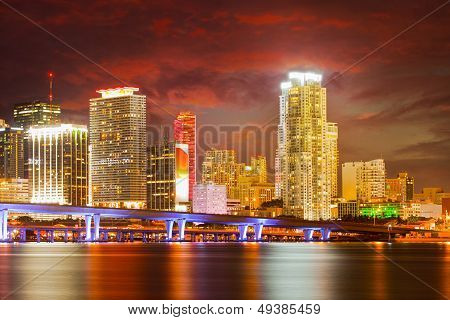 City of Miami Florida colorful night panorama