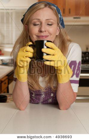 Housewife Having Coffee