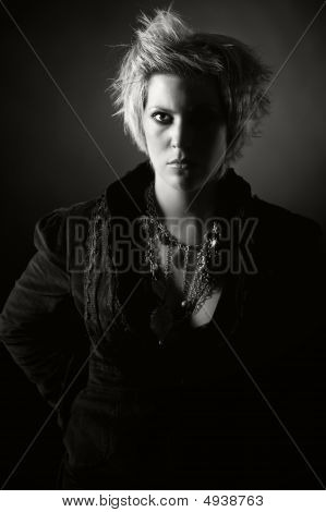 Black And White Image Of An Angry Girl