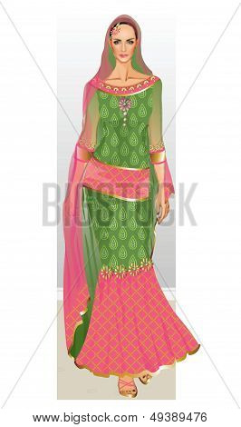 Muslim Bridal wear Illustration in Vector