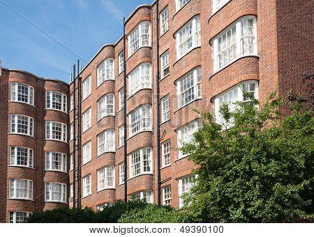 Red brick apartment architecture.