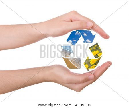 Hands Protecting The Recycling Symbol