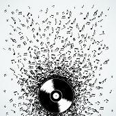 stock photo of clip-art staff  - Dj vinyl record music notes splash illustration - JPG