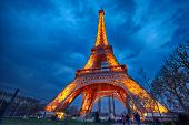 PARIS - APRIL 03: Closeup view on Eiffel Tower Light Beam Show on April 03, 2013 in Paris, France. T