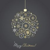 image of circle shaped  - Christmas ball made from gold and silver snowflakes and other ornaments - JPG