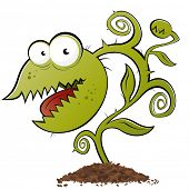 stock photo of carnivorous plants  - funny carnivorous plant cartoon - JPG