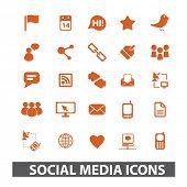 Постер, плакат: социальные медиа блог Интернет набор иконок вектор
