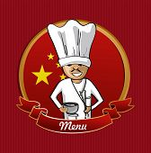 foto of chinese menu  - Chinese cook typical food menu label over China flag background - JPG