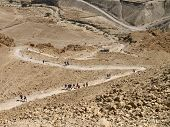 image of masada  - Snake path gaiong up the Masada  - JPG