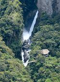 Amazonian Waterfall In The Andes. Banos. Ecuador