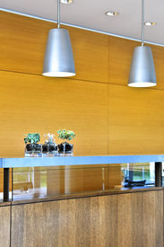pic of light fixture  - Modern interior with light fixtures and wood panels - JPG