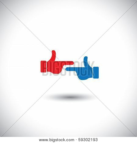 Two Hands Point At Each Other - Fight Concept Vector