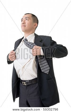 Asian busines man tearing off his shirt, closeup portrait.