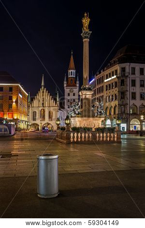 Old Town Hall And Marienplatz In Munich At Night, Bavaria, Germany