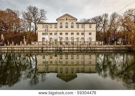 Alpines Museum In The Bank Of Isar River In Munich, Upper Bavaria, Germany
