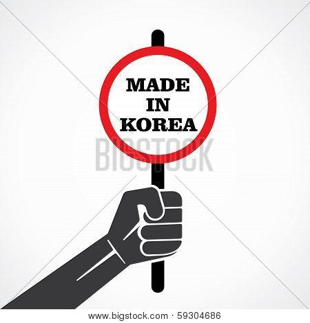 made in korea word banner in hand stock vector