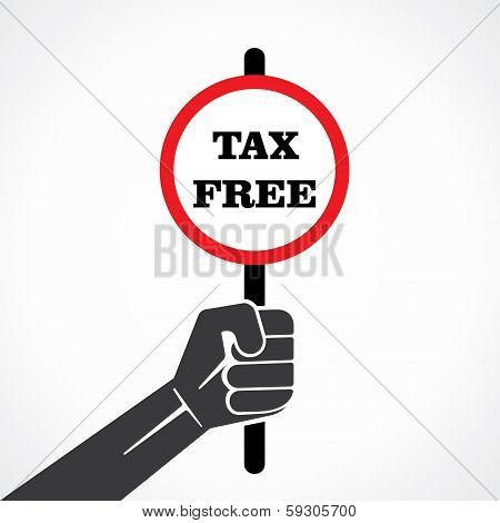 tax free word banner hold in hand stock vector