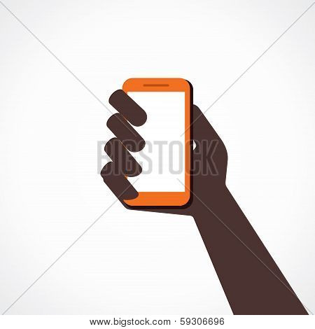 hand hold mobile stock vector