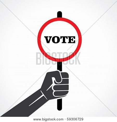 vote word banner hold in hand stock vector