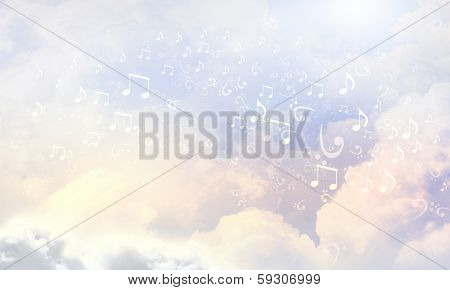 Conceptual background image with music clef and notes