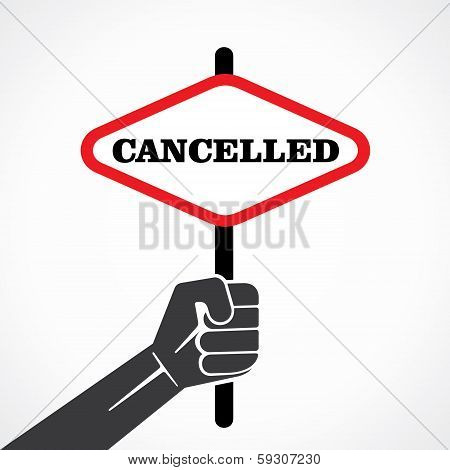 cancelled word banner hold in hand stock vector
