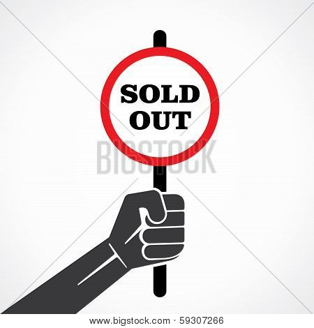 sold out word banner hold in hand stock vector