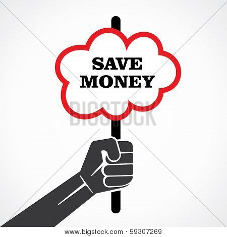 save money word banner hold in hand stock vector