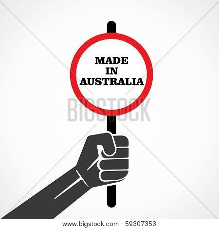 made in australia word banner hold in hand stock vector